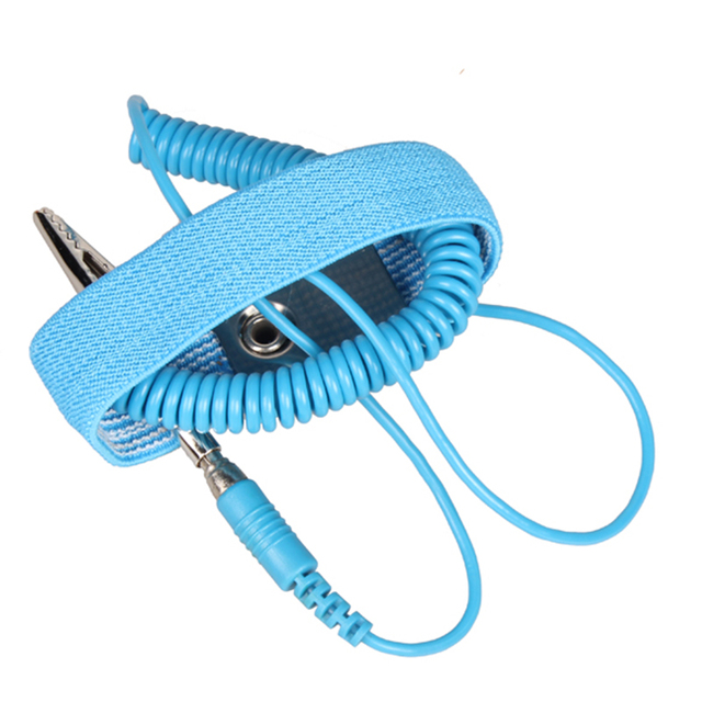 2pcs/set Portable Adjustable Antistatic Bracelet Wired Strap Discharge Wristband Ground Lead Workplace Safety Supplies Equipment
