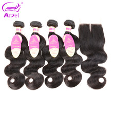 Body Wave Bundles With Closure 4*4 Brazilian Hair Weave Bundles With Frontal Non Remy Human Hair 4 Bundles With Closure Ariel(China)