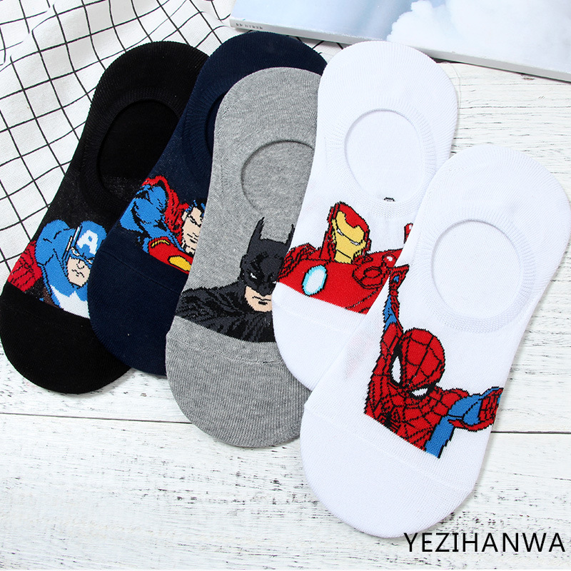 DC Marvel Captain America   socks   iron Man Spiderman Cartoon cosplay men's   sock   fashion personality funny happy cotton boat   socks