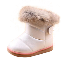2016 Winter Warm Wool Cloth With Soft Nap Of Rabbit Hair Fur Rubber Soles Children Snow