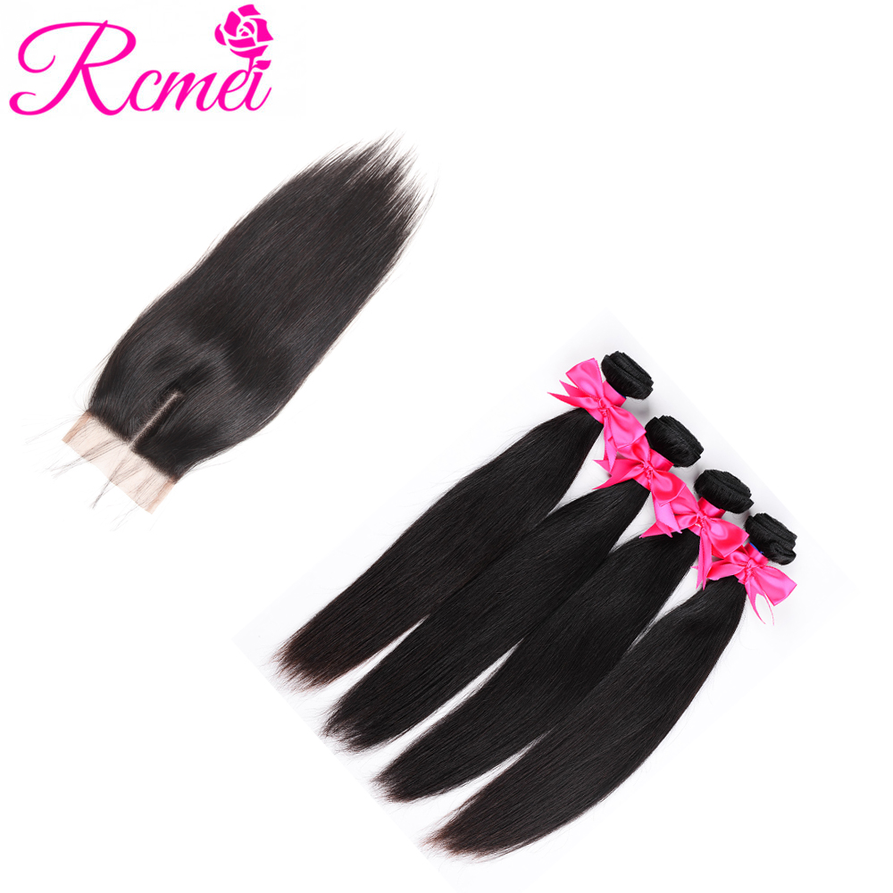 Rcmei Indian Straight Human Hair Bundles With Closure 100% Human Hair 4 Bundles With 4*4 Swiss Lace Closure Non Remy