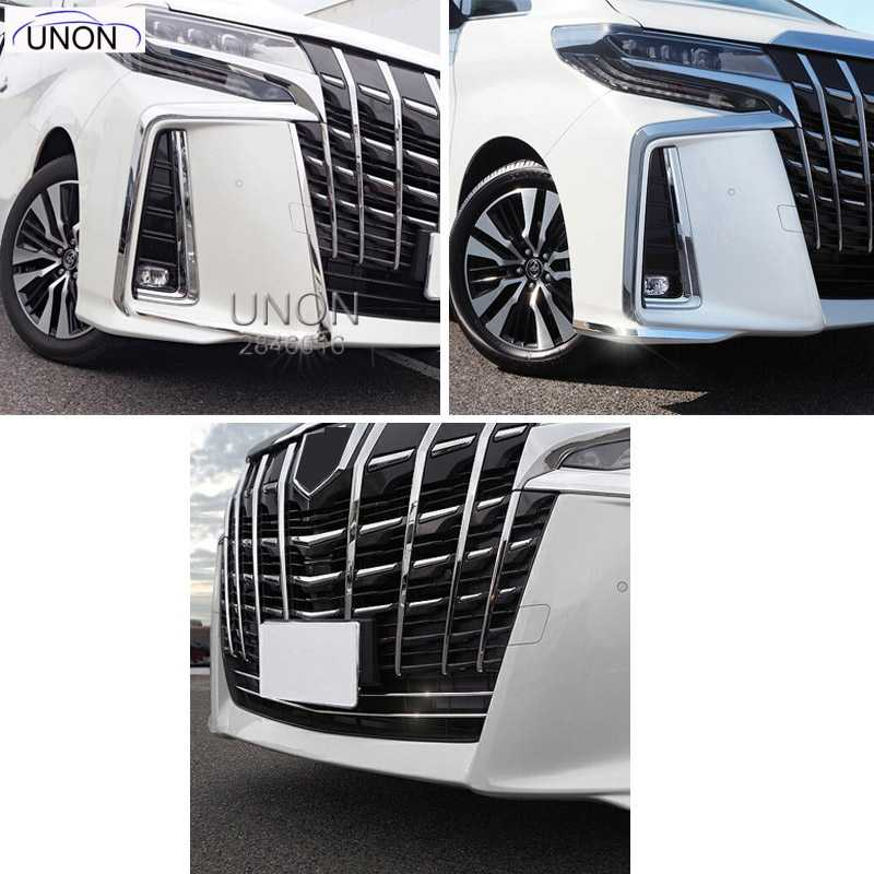 Voor 2019 Toyota Alphard Vellfire AH30 Auto Accessoires Rvs Front Hoofd Bumper Cover Trim Styling