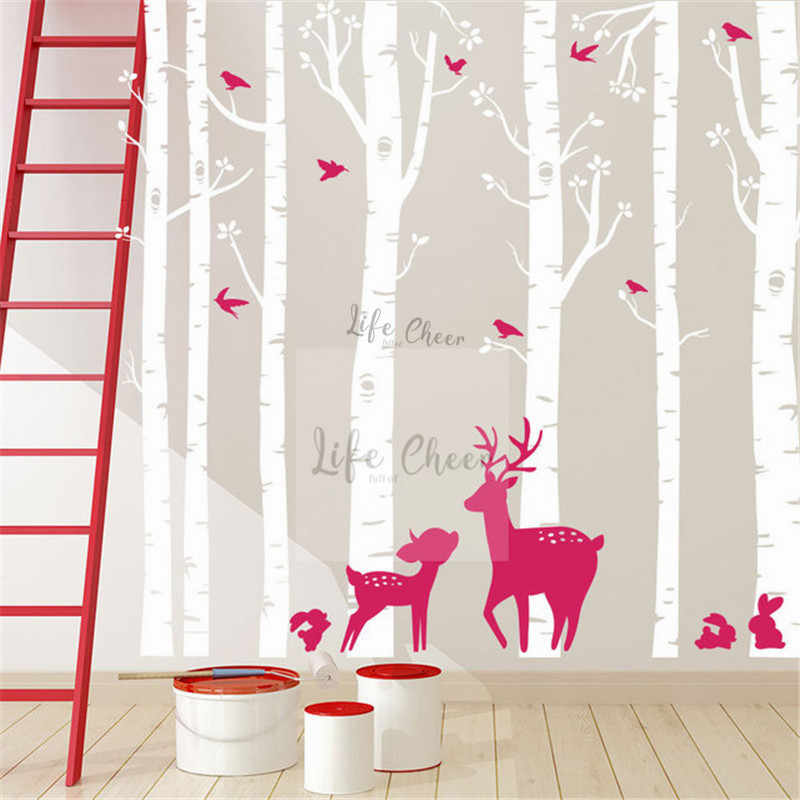 7 Birch ต้นไม้ชุดสติกเกอร์ผนังเด็กตกแต่งห้องนอนสูงขนาดใหญ่ Wall Art Decal Birch Tree Deer Birds wall Art AC201
