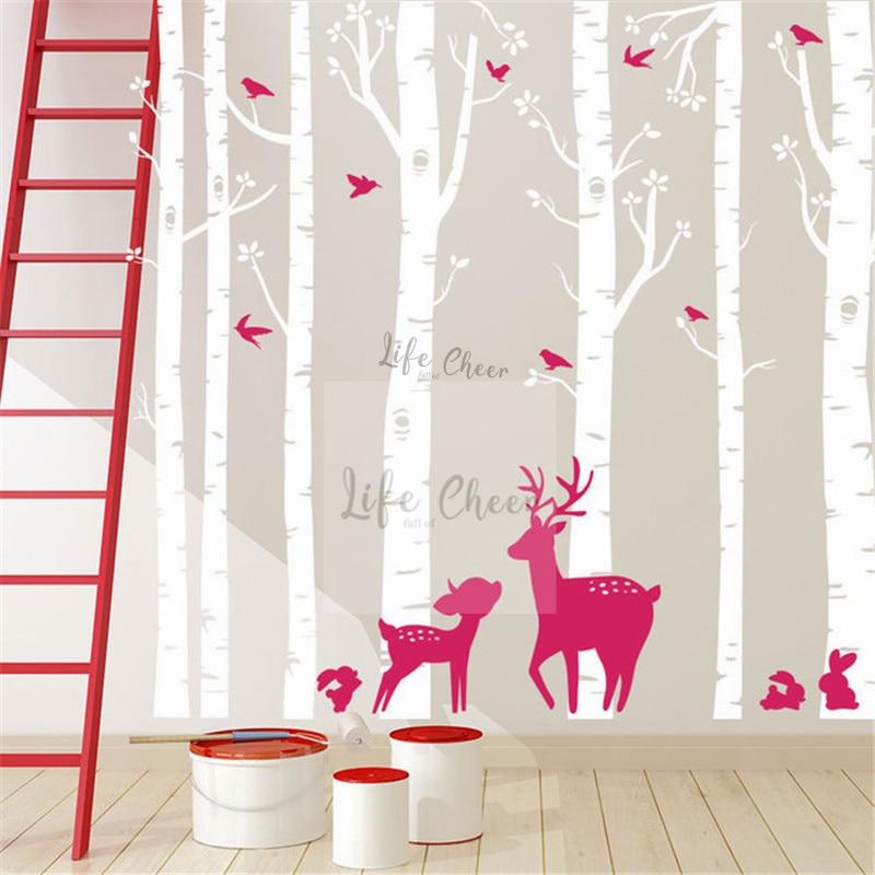 7 árboles de abedul juego de pegatinas de pared niños dormitorio decoración alto gran tamaño pared arte calcomanía abedul árbol con ciervos pájaros arte de pared de AC201