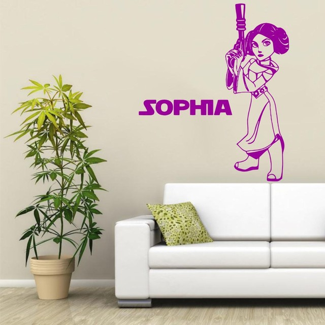 Star Wars Princess Leia With Personalized Name Vinyl Wall Decals