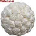 Simple Crema Marfil Flor de la dama de Honor Ramos De Novia De Seda Artificial de Diferentes Tamaño/Ramo de Novia de Raso de Colores Personalizada W223