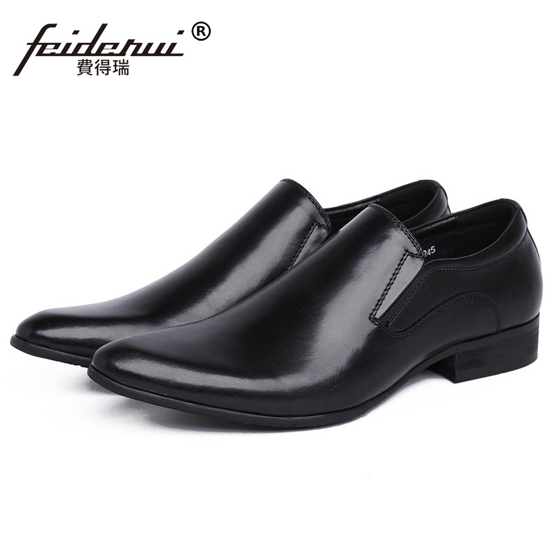 Basic Italian Pointe Toe Man Casual Shoes Genuine Leather Male Bridal Loafers Luxury Brand Designer Men