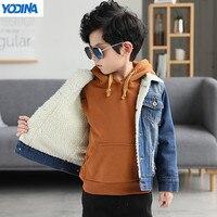 YODINA Kids Clothing Boys Stylish Winter Denim Jackets Children Thicken Coat Outerwear Big Boys Jean Jacket