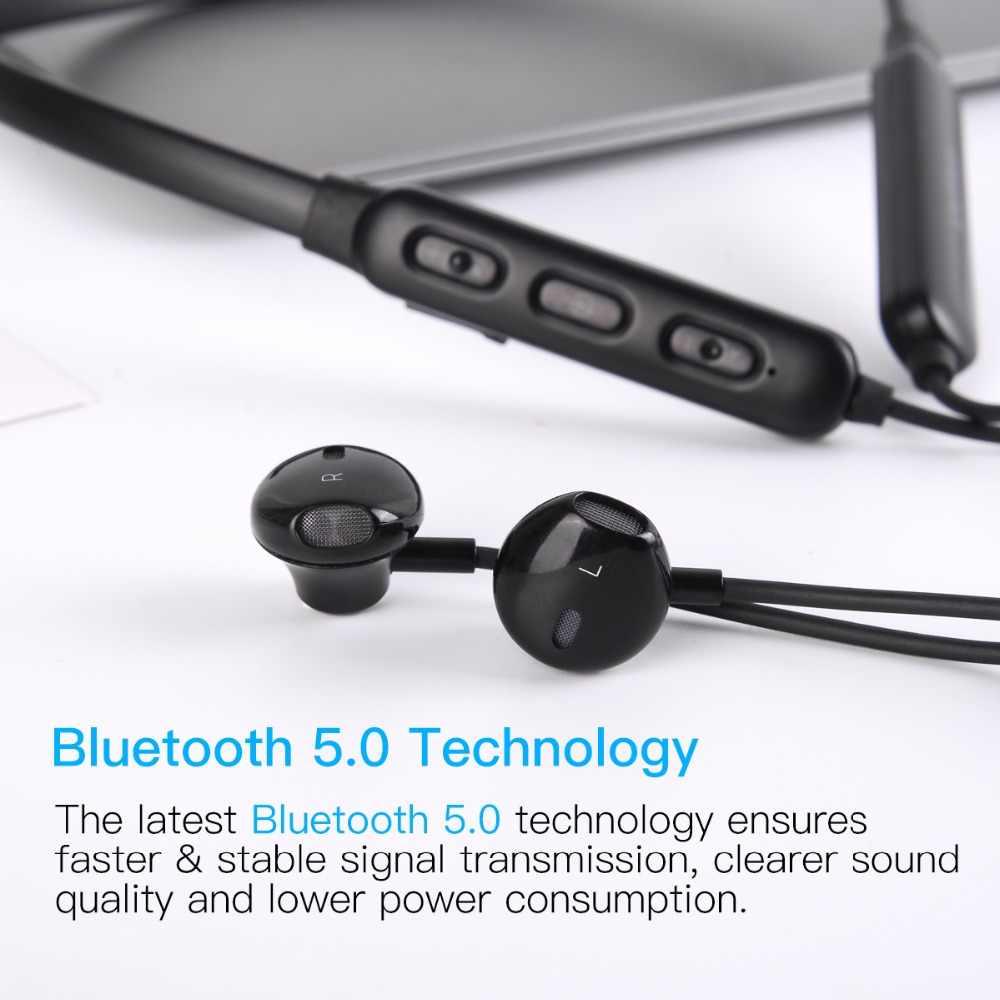 Wavefun Flex 2 bezprzewodowe słuchawki Bluetooth 5.0 słuchawki 150 mAh baterii IPX5 wodoodporna dla xiaomi iPhone Sport zestaw słuchawkowy z mikrofonem