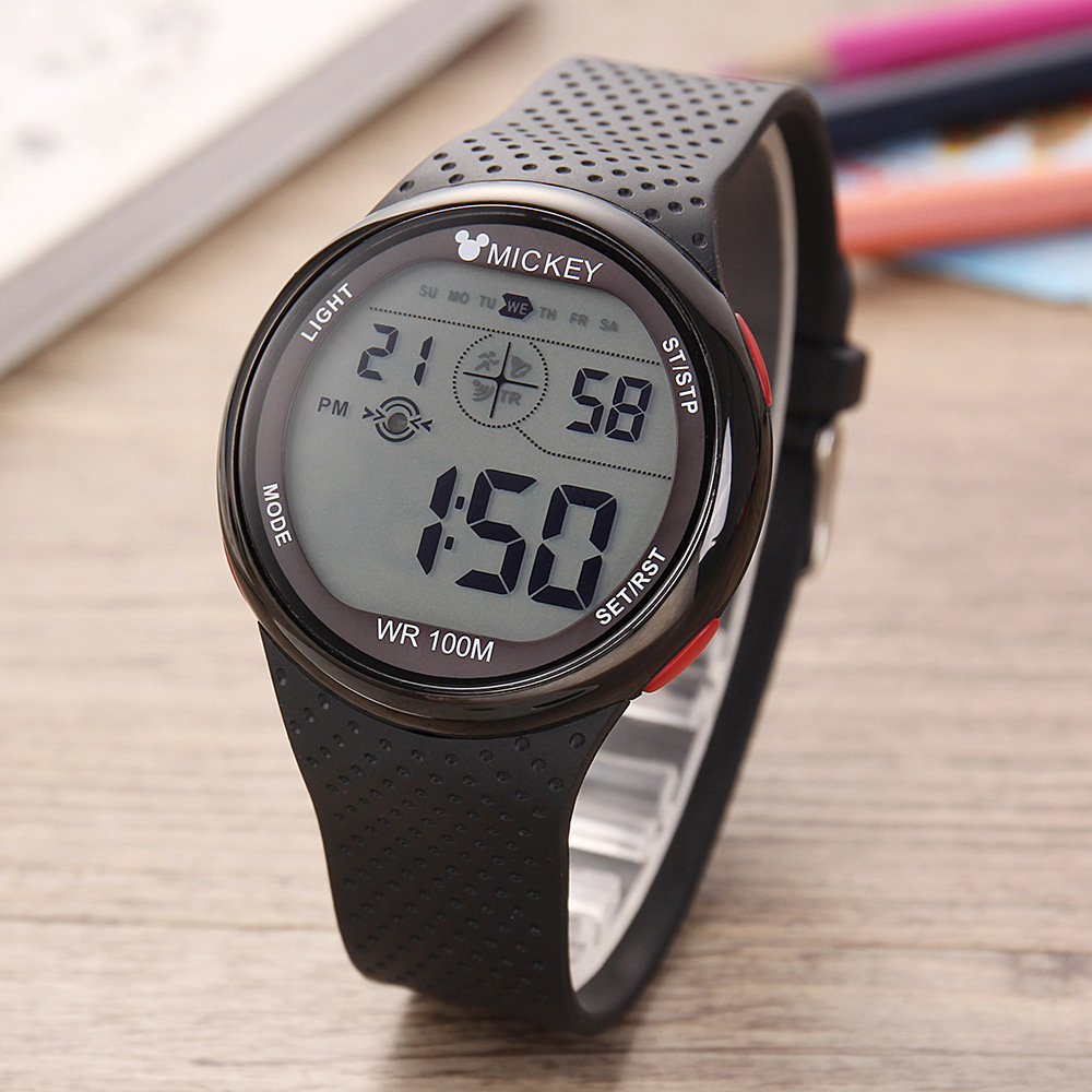 Disney Brand Mens Womens Digital Wristwatches Sports Swim 100m Waterproof Multifunction Boys Girls Watches Week Alarm Calendar