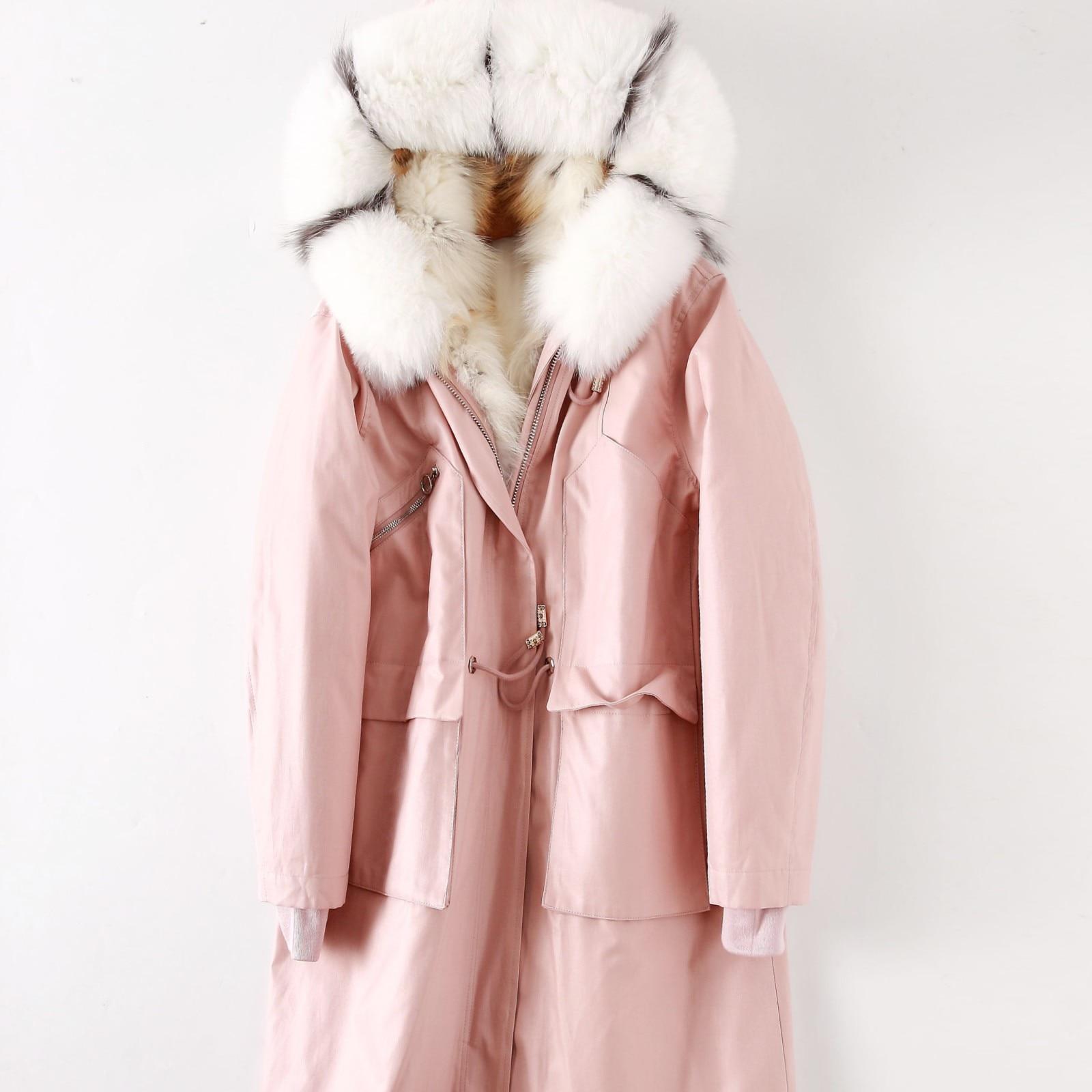 Парки Mujer Invierno 2019 модное пальто из натурального меха енота с воротником Зимние Длинные парки из натурального меха подклад куртки Женское на