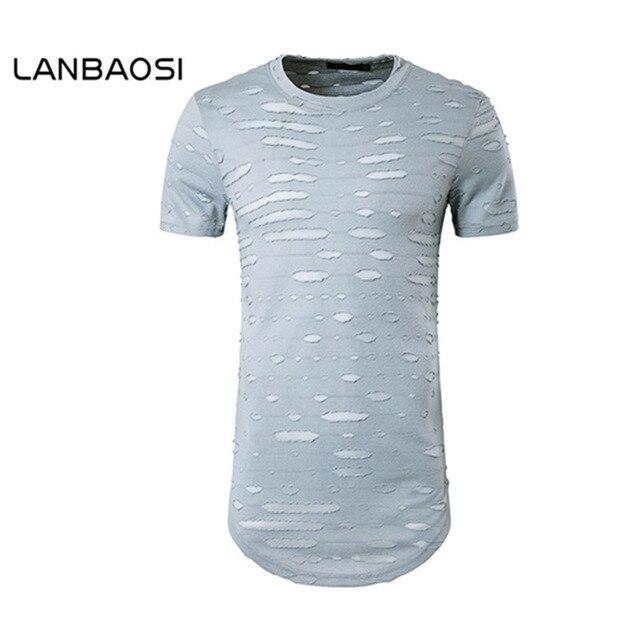 Aliexpresscom Buy LANBAOSI Mens T Shirt Men Short Sleeve Holes T - Open office invoice template free streetwear online store