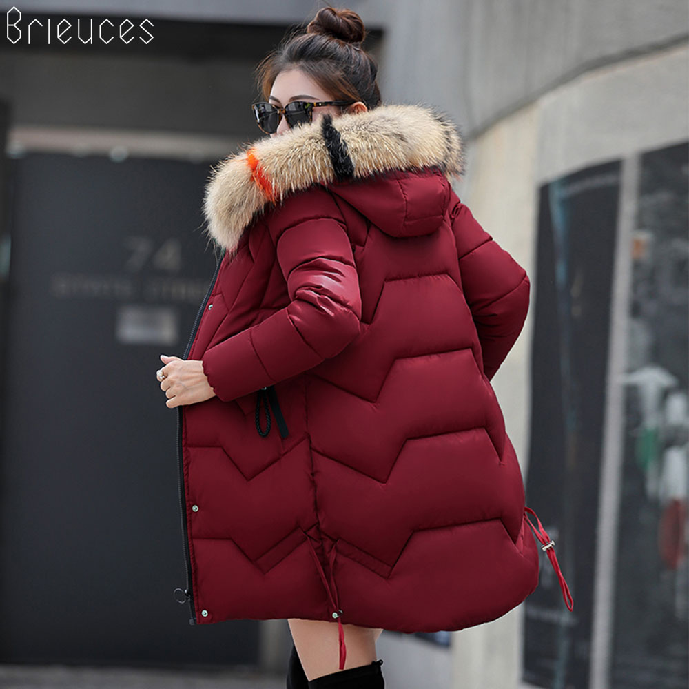 Br women winter jackets and coat 2018 New   Parkas   for women Long Wadded Jackets warm Outwear Hooded jaqueta Large Faux Fur Collar