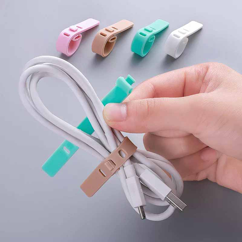 4Pcs Silicone Adjustable Cable Organizer USB Data Wrap Cord Winder Wire Protector Holder  2