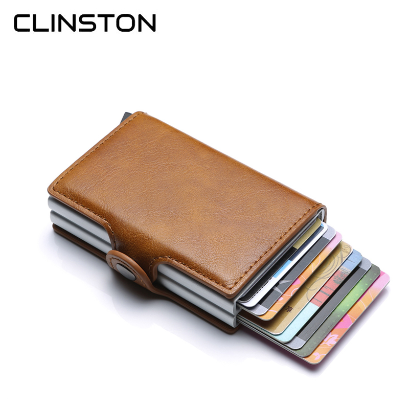 RFID Mens Leather ID Credit Card Holder Male Automatic Aluminum Alloy Hasp Business Double Layer Cardholder Wallet for ManRFID Mens Leather ID Credit Card Holder Male Automatic Aluminum Alloy Hasp Business Double Layer Cardholder Wallet for Man