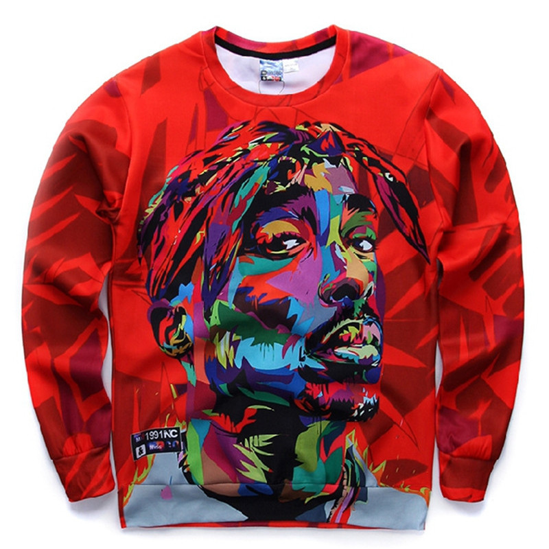 Caliente otoño e invierno moda para hombre sudadera de manga larga para hombre Tupac cuello redondo sudadera con capucha camiseta de manga larga 3D 06