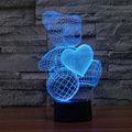 Unique Night Light Teddy Bear 7 Color LED 3D Modern Artistic Circle Bulbing Illusion Table Lamp for Nursery Bedroom Great Gift