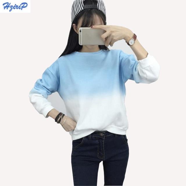 Hzirip Fashion Long Sleeve Sweatshirts Slim Autumn Moletom Round Neck Gradual Change Printing Sudadera Loose Women Sweatshirt