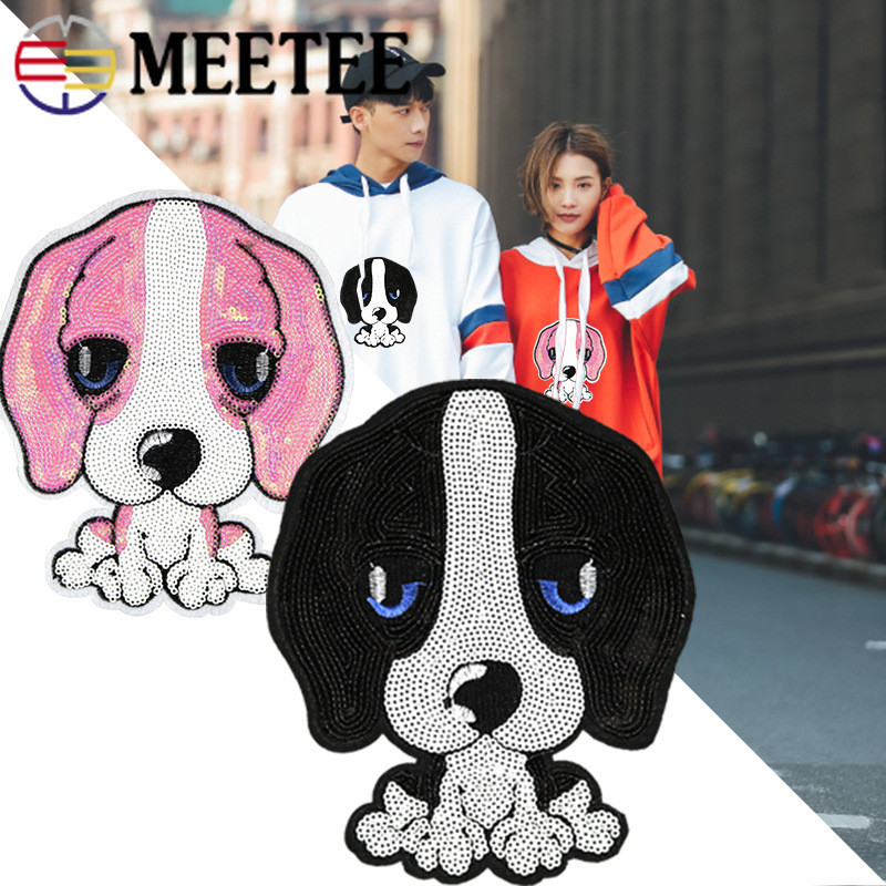 Home & Garden 2pcs 18*15cm Pink Black Sequins Dog Embroidery Fabric Applique Patch Sweet Lace Sew Dress Cloth Decorate Diy Accessory Zk875 Possessing Chinese Flavors Arts,crafts & Sewing
