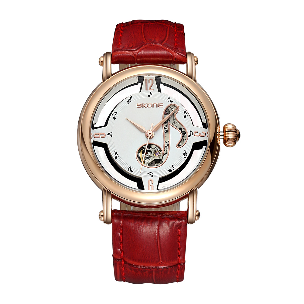 Luxury Watch Women Men SKONE Gold Hollow Clock Women Dress Watch Mechanical Automatic Self Wind Movement