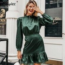 Simplee Vintage spitze saum kräuselte frauen kleid langarm stehen neck mini damen kleider Hohe taille weibliche herbst kleid vestidos