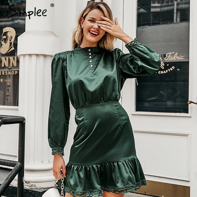Simplee женскoе платье с кружевной длинным рукавом стоять шеи мини женские платья высокой талией  осеннее платье