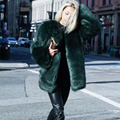 New 2016 Autumn Winter Fashion Faux Fur Coats Women Imitation Fox Fur Medium Long Solid Faux Fur Outerwear Dark Green W899