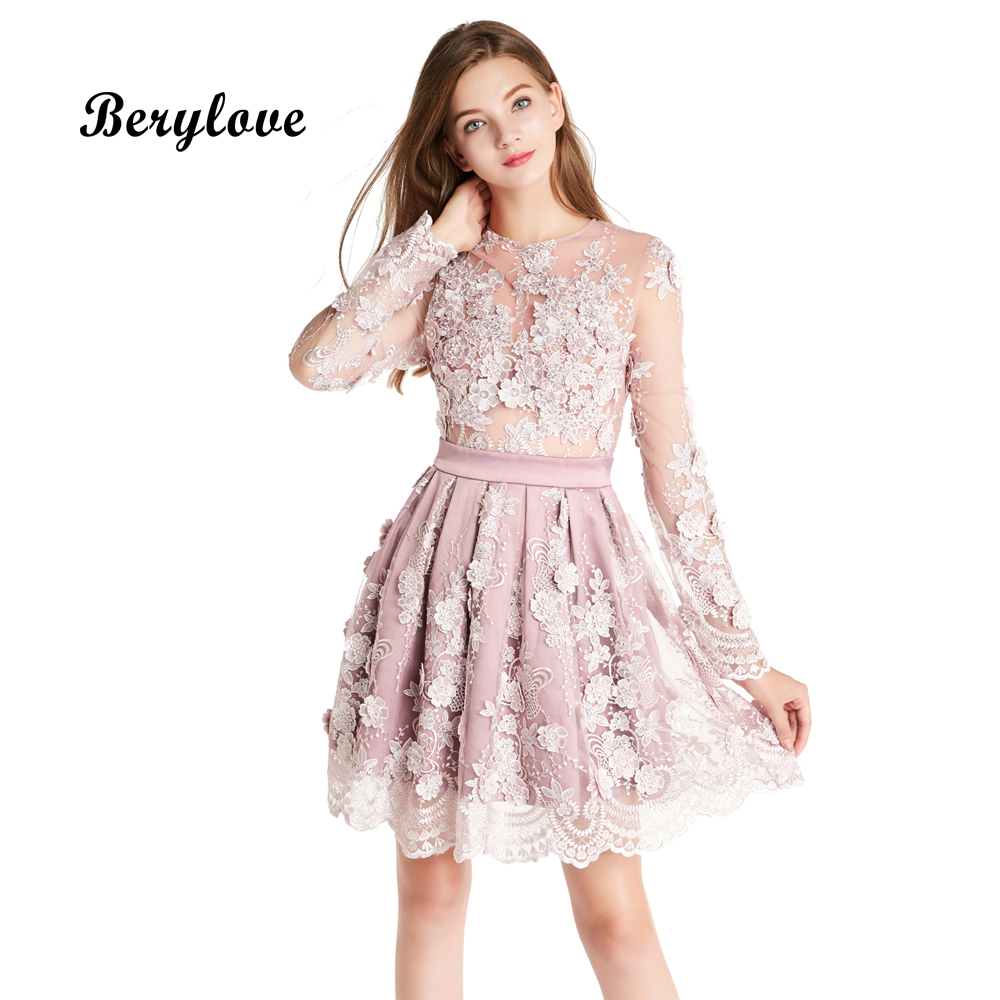 BeryLove Romantic Short Lavender Prom Dresses 2018 Flowers Long Sleeves Prom Gowns Plus Size Mini Graduation Dresses For Prom