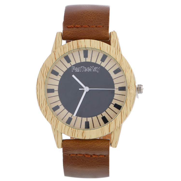 Vintage Wooden  Quartz Men Women Watches Casual Wooden Color Leather Strap Watch Wood Wristwatch Relogio Faminino Zegarek Damski