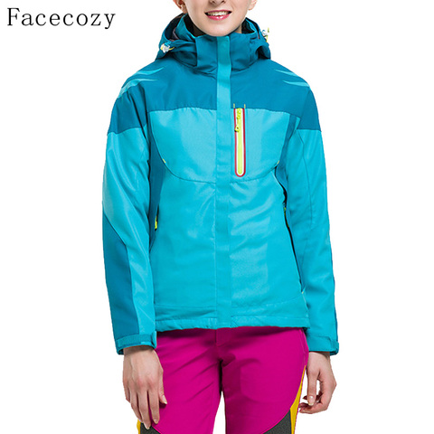 Facecozy Women Outdoor Hiking SoftShell jackets Winter Hooded Thermas Camping Jackets Female Windproof Climbing Coat 2 Pieces Multan
