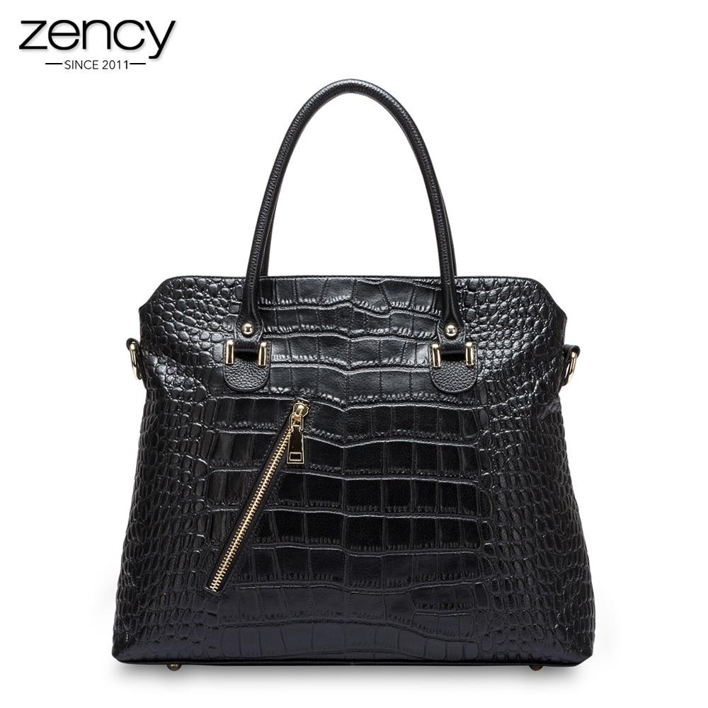 все цены на Zency Alligator Crocodile Pattern Women Tote Bag 100% Genuine Leather Fashion Female Messenger Charm Handbag High Quality онлайн