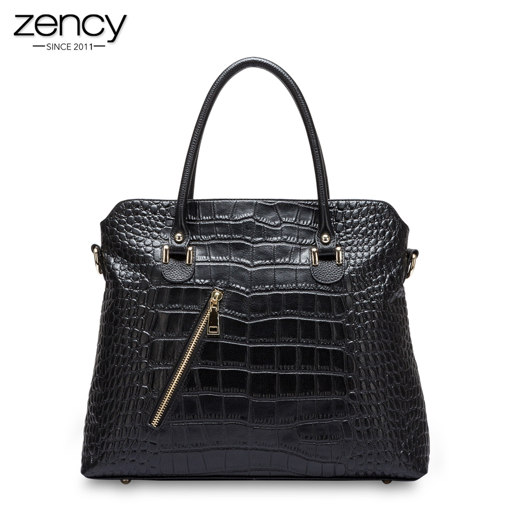 Zency Alligator Crocodile Pattern Women Tote Bag 100% Genuine Leather Fashion Female Messenger Charm Handbag bolso mujer 2018 yuanyu 2016 new women crocodile bag women clutches leather bag female crocodile grain long hand bag