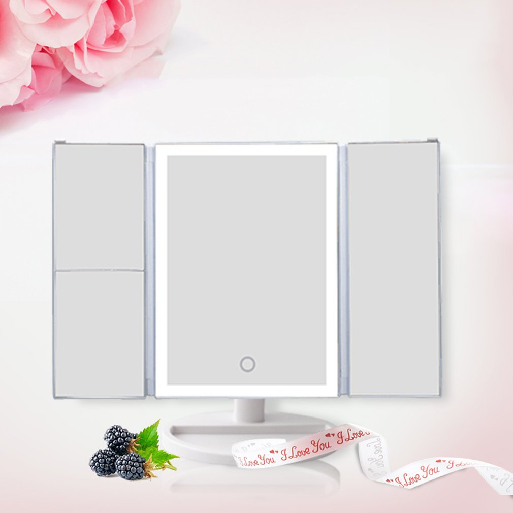Desktop 36LED Facial Makeup Mirror Compact Size 180 Degree Rotation Tabletop Cosmetic Makeup Mirror With Magnification