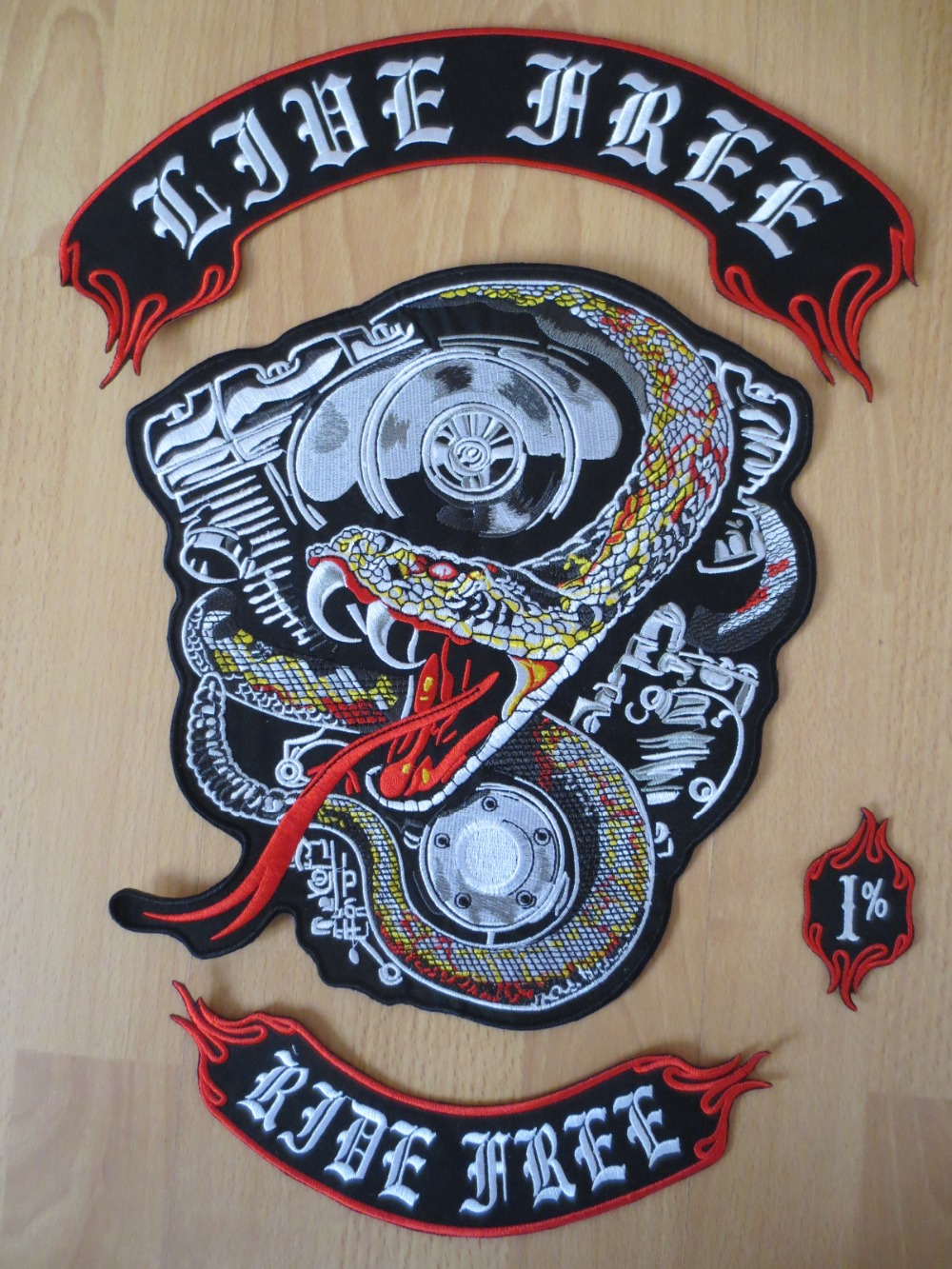 17 inches stor slange stor Broderi Patches for Jacket Motorcycle Biker
