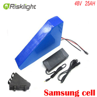 Diy rechargeable akku 48v 1000w triangle electric bike battery 48v 25ah lithium ion battery pack with 30A BMS