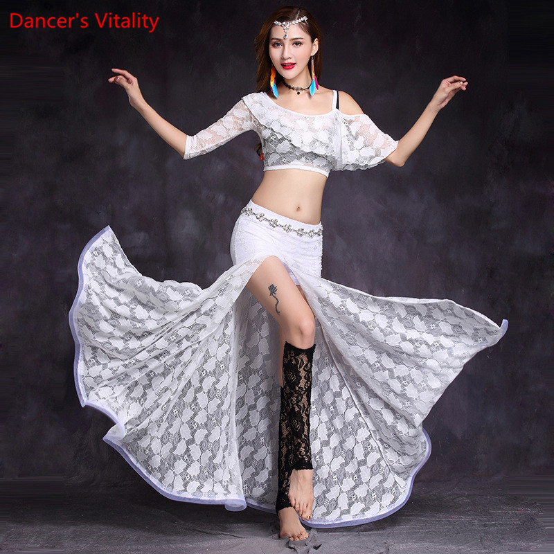 Lace Bellydance Costume 2pcs Set Top&Skirt New Model Hot Sale Women Belly Dance Suits Performance Wear Long Skirt