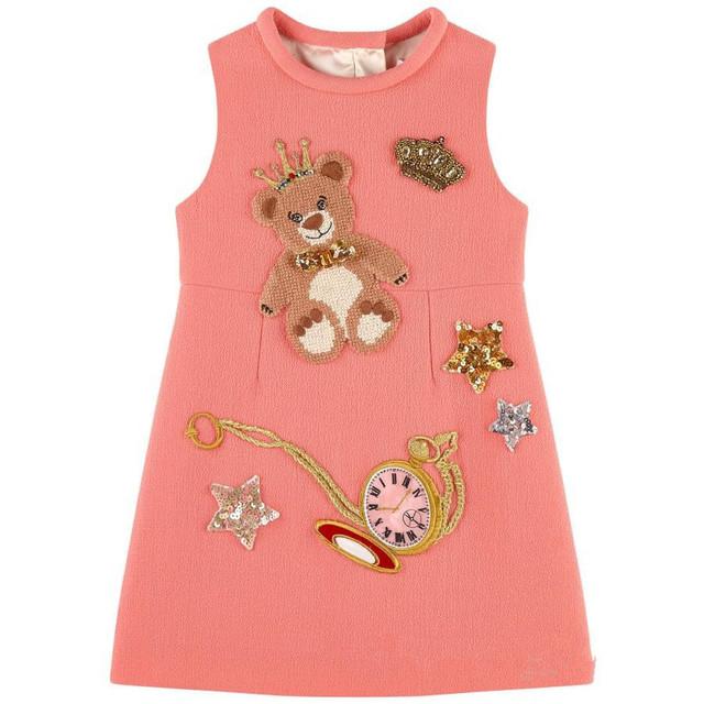 Vestidos de las muchachas del Invierno 2016 Marca Niños Vestido de Princesa Traje de Modo Enfant Oso Patrón de la Impresión Niños Vestidos para Niñas Ropa