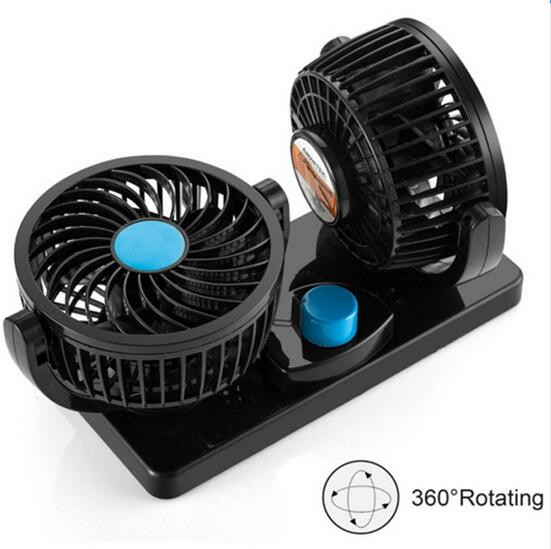 QCHENKIWEI 12 V Portable Auto Air Cooling Fan Black 360 Degree Rotating Car Fans
