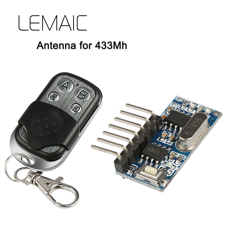 LEMAIC 433Mhz Key Wireless Remote Control Kits Superheterodyne Learning Code Decoding Receiver Transmitter Module For Switch Diy dc12v rf wireless switch wireless remote control system1transmitter 6receiver10a 1ch toggle momentary latched learning code
