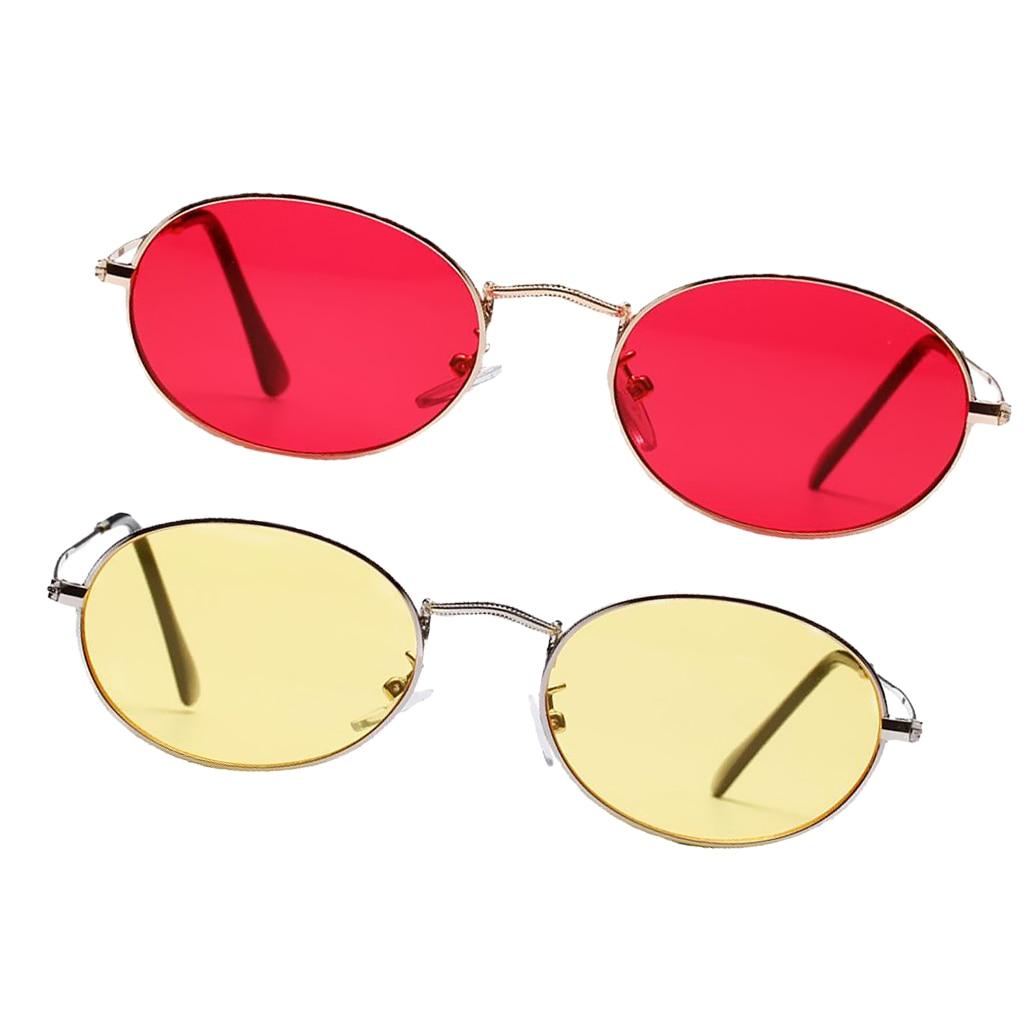 2pcs Stylish Retro Mens Womens Retro Oval Sunglasses Mirror Lens UV400 Eyewear Travel Sun Glasses