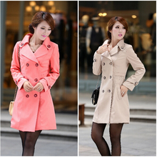 plus size british style Medium-long trench 2016 slim overcoat female autumn winter outerwear trench coat for women e44