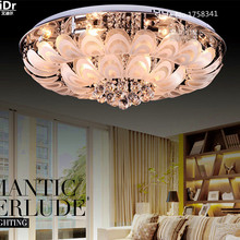 Round Crystal  New Lamps led peacock modern minimalist living room ceiling lights bedroom lamp restaurant  Luxury lamp