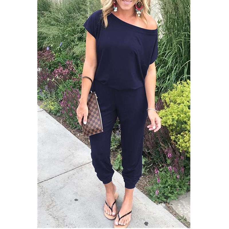 Sexy Off Shoulder Short Sleeve Solid Jumpsuits 2019 Summer Women New Arrival Casual Slim Elegant Jumpsuits Ladies Long Rompers