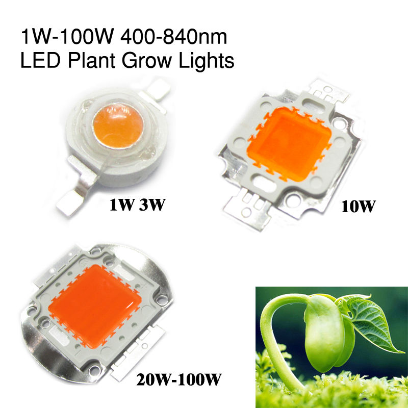 400nm-840nm Full Spectrum Grow Light 1W 3W 5W 10W 20W 30W 50W 100W High Power LED COB Beads 45mil Bridgelux Chip For Plant Grow