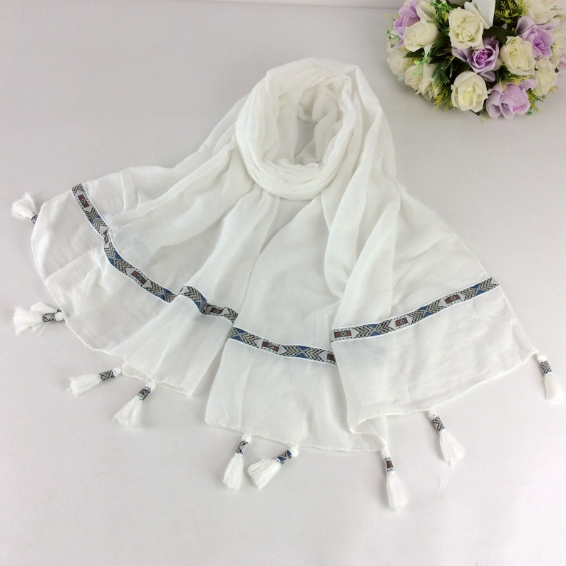 Plain Cotton Tassels Woman Scarf Long Muslim Head Scarf 10pcs/lot C2-10