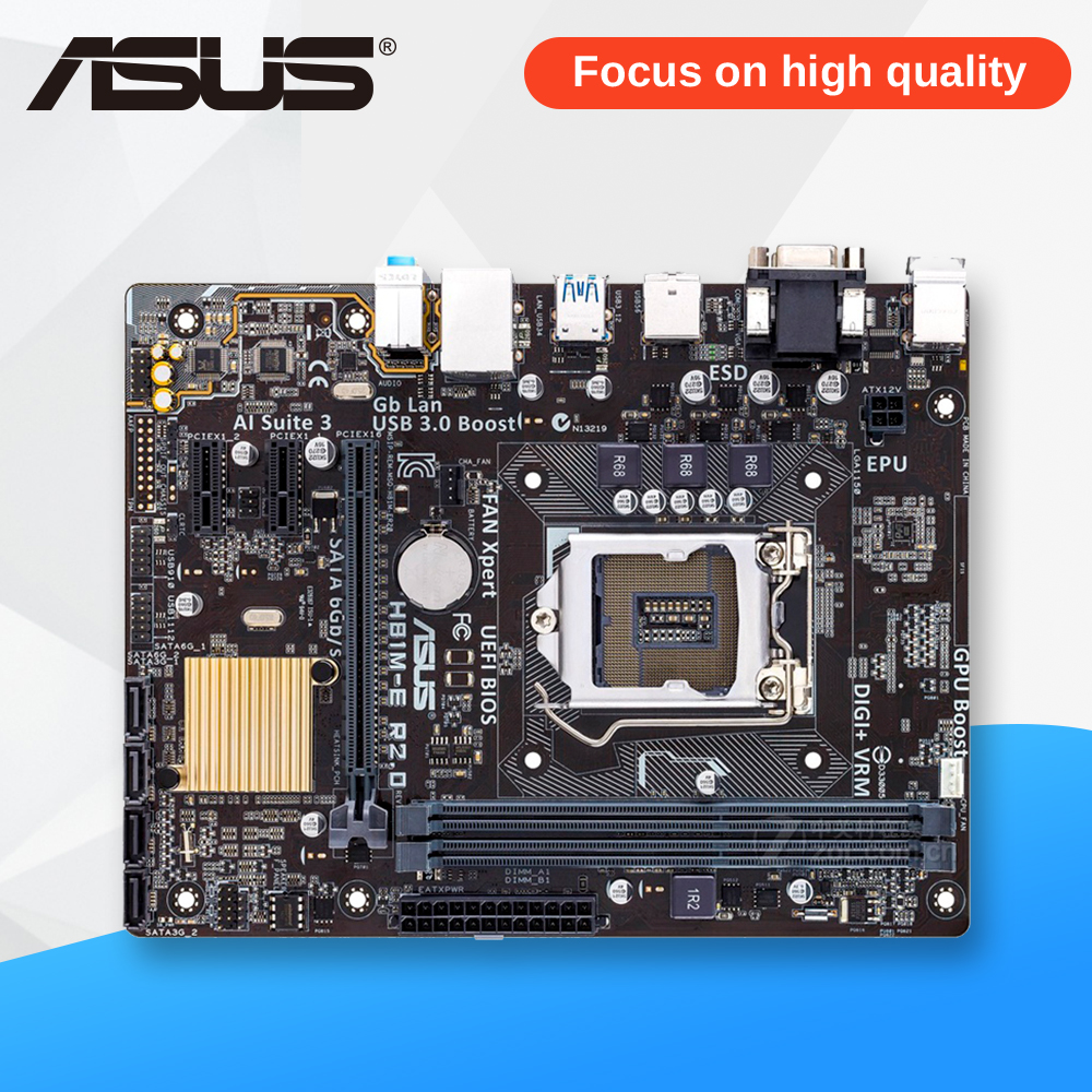 Asus H81M-E R2.0 Desktop Motherboard H81 Socket LGA 1150 i7 i5 i3 DDR3 16G SATA3 Micro-ATX used for asus b85m d plus desktop motherboard b85 socket lga 1150 i7 i5 i3 ddr3 16g sata3 micro atx