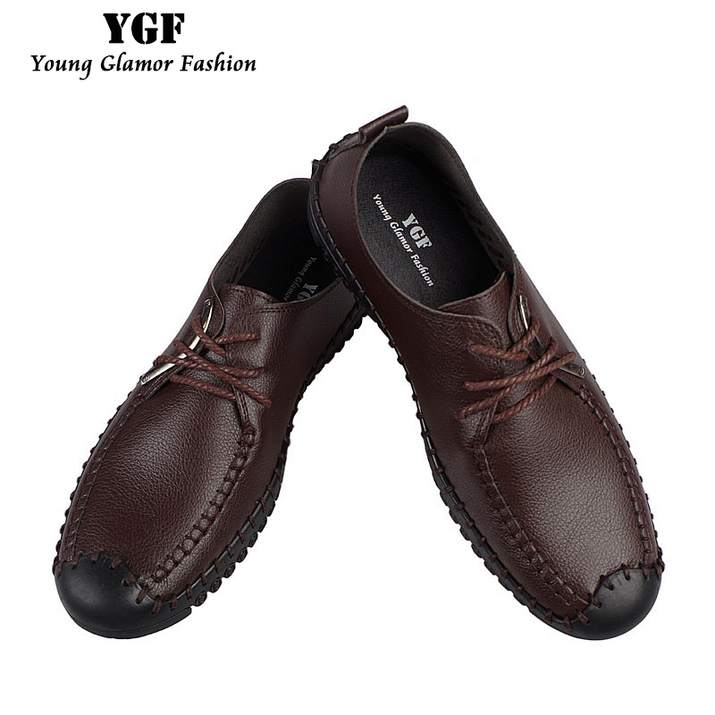 YGF New Men s Loafers Genuine Leather Casual Style Shoes Lace up Mens Soft Leather Loafers