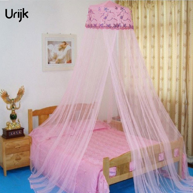 Urijk 1pc Double Bed Sequins Canopy Curtains Hung Dome Mosquito Net Pink Color Polyester Mesh