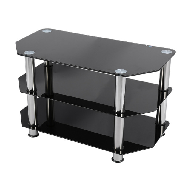 Black Glass 3 Layer Coffee Tables Modern TV Stand Cabinet Tea Coffee Table  Suitable For LCD
