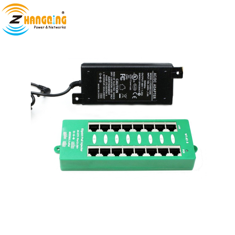 8 Port 802.3at PoE Injector With Negotiating Including 48V 60W Power Supply For IP Camera IP Phone WiFi Access Point